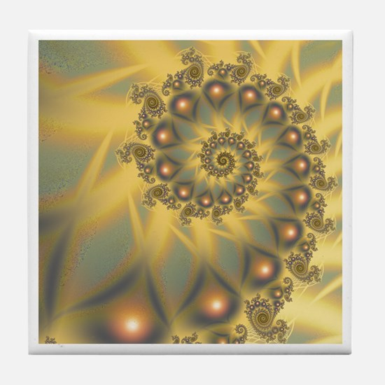 Golden Fiddle Fractal Tile Coaster