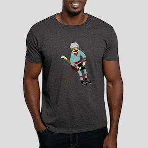 Sock Monkey Ice Hockey Player Dark T-Shirt