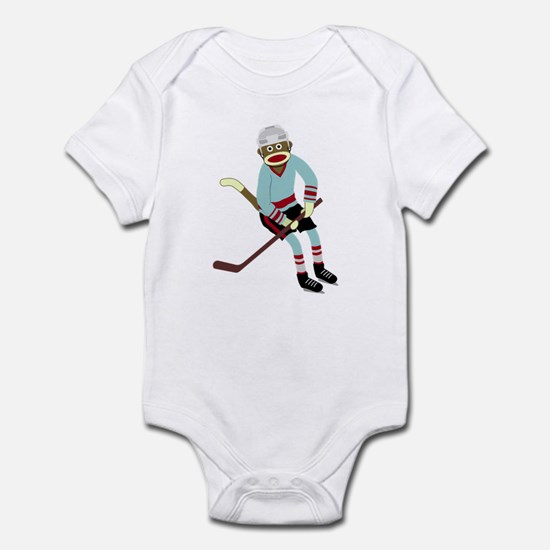 Sock Monkey Ice Hockey Player Infant Bodysuit