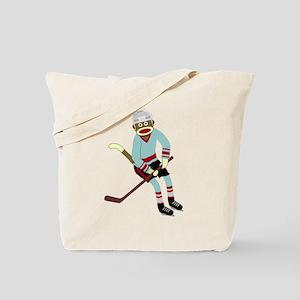 Sock Monkey Ice Hockey Player Tote Bag