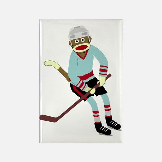 Sock Monkey Ice Hockey Player Rectangle Magnet