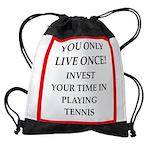 Funny sports and gaming joke Drawstring Bag