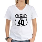 Route 40 Shield - Delaware Women's V-Neck T-Shirt