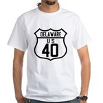 Route 40 Shield - Delaware White T-Shirt