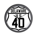 Route 40 Shield - Delaware Wall Clock