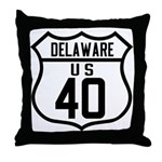 Route 40 Shield - Delaware Throw Pillow