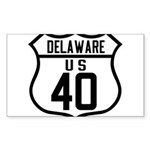 Route 40 Shield - Delaware Rectangle Sticker 10 p