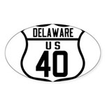 Route 40 Shield - Delaware Oval Sticker (10 pk)