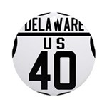 Route 40 Shield - Delaware Ornament (Round)