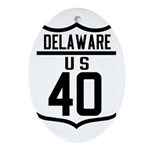 Route 40 Shield - Delaware Oval Ornament