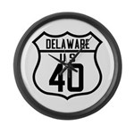 Route 40 Shield - Delaware Large Wall Clock