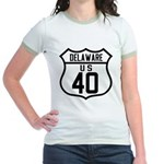 Route 40 Shield - Delaware Jr. Ringer T-Shirt