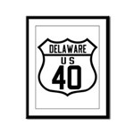 Route 40 Shield - Delaware Framed Panel Print