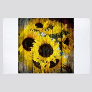 western country yellow sunflower 4' x 6' Rug
