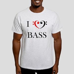 I love BASS - bass clef heart tee shirt