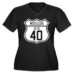 Route 40 Shield - Missouri Women's Plus Size V-Nec