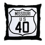 Route 40 Shield - Missouri Throw Pillow