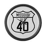 Route 40 Shield - Missouri Large Wall Clock
