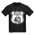 Route 40 Shield - Missouri Kids Dark T-Shirt