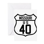 Route 40 Shield - Missouri Greeting Cards (Pk of 2