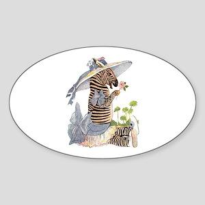 Playful Zebra Oval Sticker