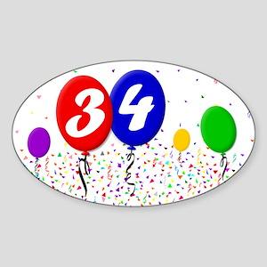 34th Birthday Oval Sticker