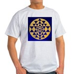s002.sri yantra gold on blue Light T-Shirt
