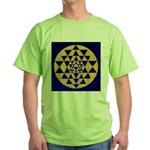 s002.sri yantra gold on blue Green T-Shirt
