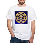 s002.sri yantra gold on blue White T-Shirt