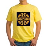 s002.sri yantra gold on blue Yellow T-Shirt
