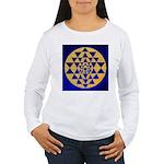 s002.sri yantra gold on blue Women's Long Sleeve T