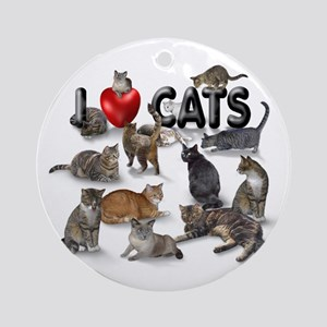 "Round Ornament""I love Cats"""