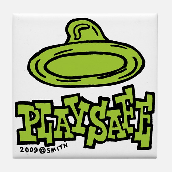 Condom Play Safe (left) Tile Coaster