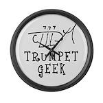 Trumpet Hand Drawn Large Wall Clock