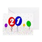 21st Birthday Greeting Cards (Pk of 10)