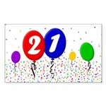 21st Birthday Rectangle Sticker