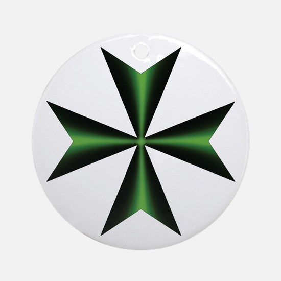 Green Maltese Cross Ornament (Round)