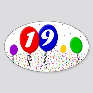 19th Birthday Oval Sticker