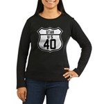 Route 40 Shield - Utah Women's Long Sleeve Dark T-