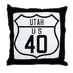 Route 40 Shield - Utah Throw Pillow