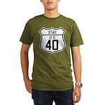 Route 40 Shield - Utah Organic Men's T-Shirt (dark