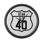 Route 40 Shield - Utah Large Wall Clock