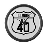 Route 40 Shield - Illinois Large Wall Clock