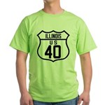 Route 40 Shield - Illinois Green T-Shirt