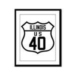 Route 40 Shield - Illinois Framed Panel Print
