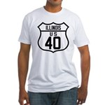 Route 40 Shield - Illinois Fitted T-Shirt