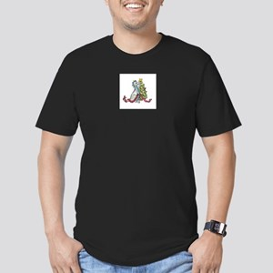Christmas Dragon Color Men's Fitted T-Shirt (dark)