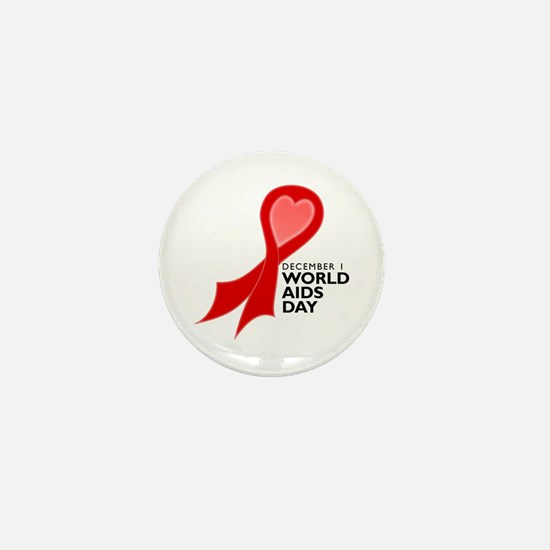 Worlds AIDS Day Red Ribbon Mini Button