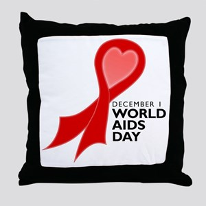 Worlds AIDS Day Red Ribbon Throw Pillow
