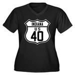 Route 40 Shield - Indiana Women's Plus Size V-Neck